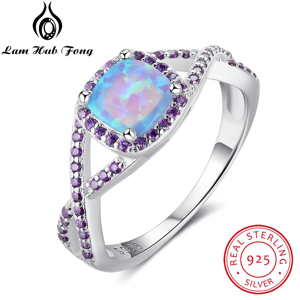 100% 925 Sterling Silber Ring Blau Platz Opal Stein Mit Lila Zirkonia Ringe Für Frauen Valentinstag Geschenk Strukturelle Behinderungen