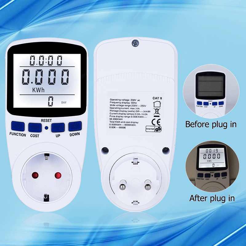 Wattmètre numérique avec rétroéclairage compteur d'énergie grand écran puissance électronique tension prise de courant analyseur d'énergie