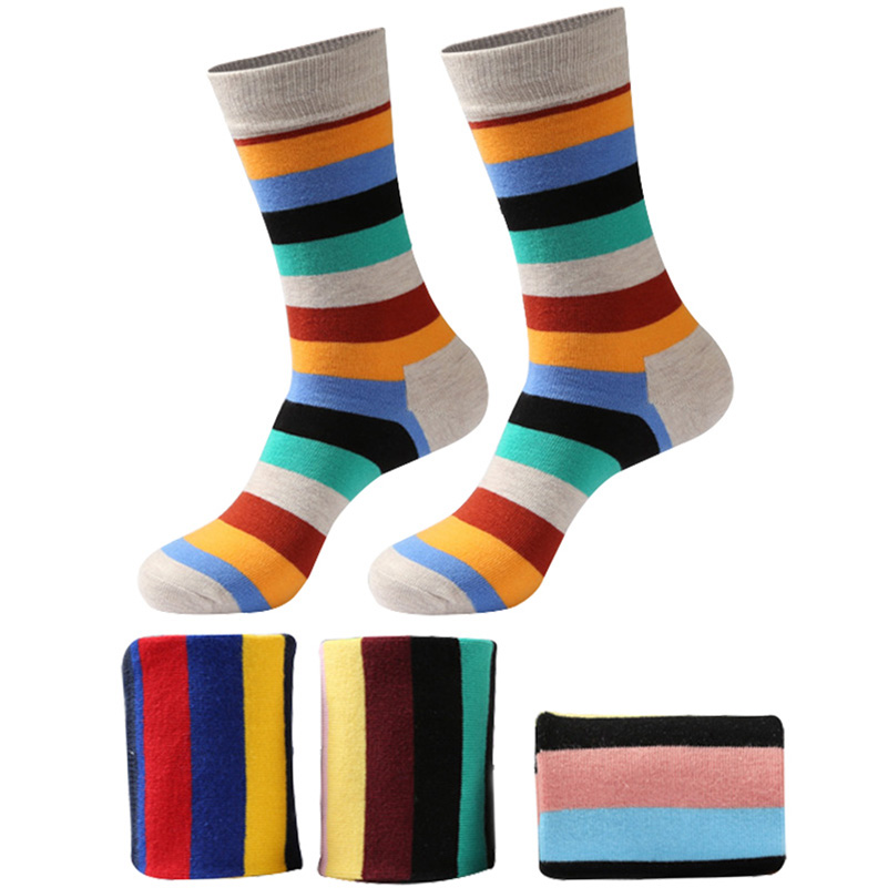 6 pair/lot Mens Colorful Stripe Soft Warm Breathable Combed Cotton Funny Crew Socks Happy Socks Male Long Funny Socks Meias Sox