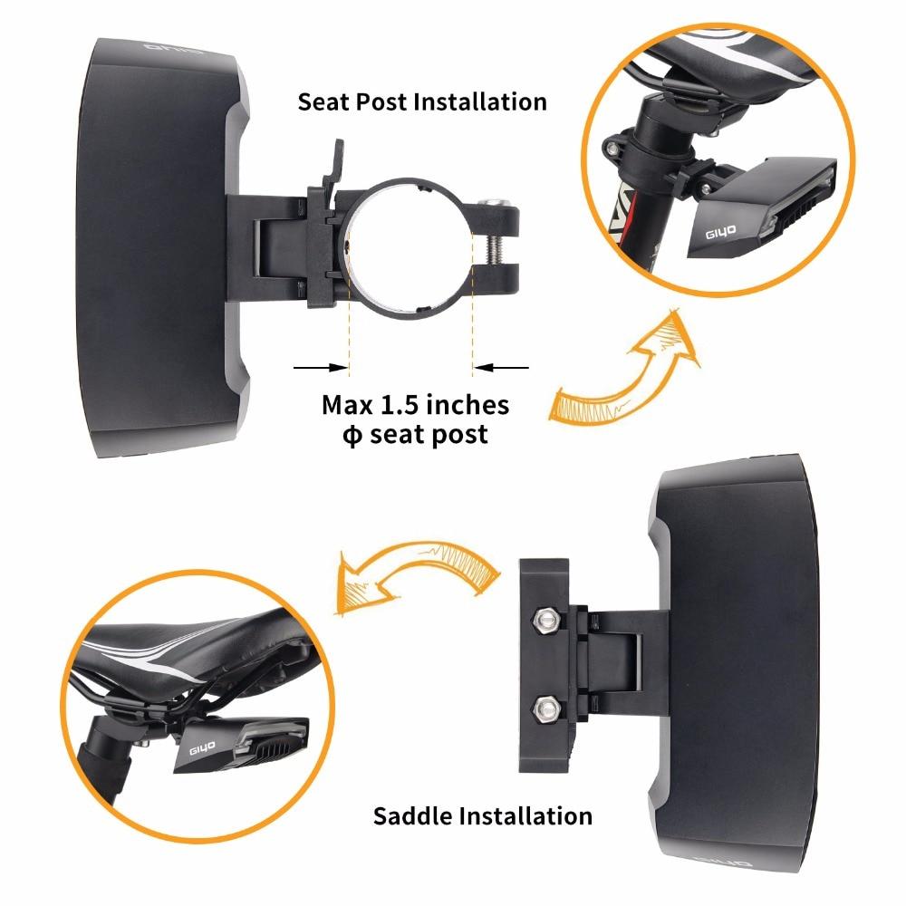 GIYO Batterie Pack Vélo Lumière USB Rechargeable Montage Vélo Lampe Arrière Feu arrière Led Clignotants Vélo Lumière Vélo Lanterne - 4