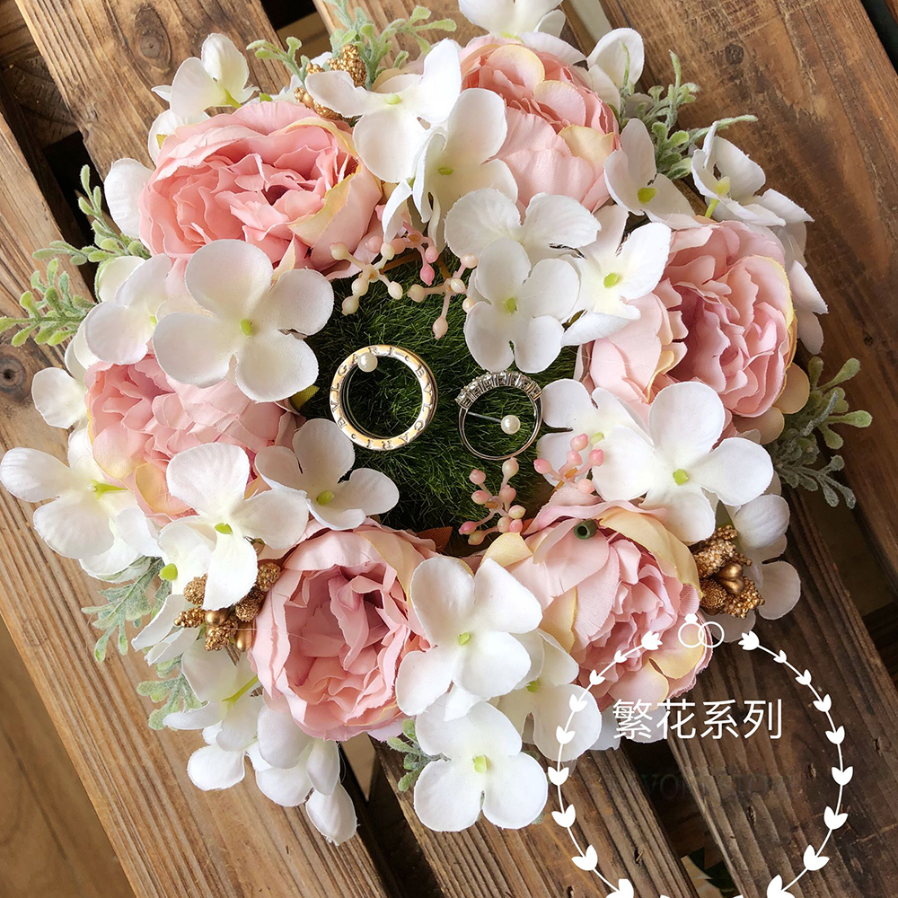 Free shipping1pcs Pink wreath Photo props engagement wedding decoration wedge ring nest pillow marriage proposal good idea image