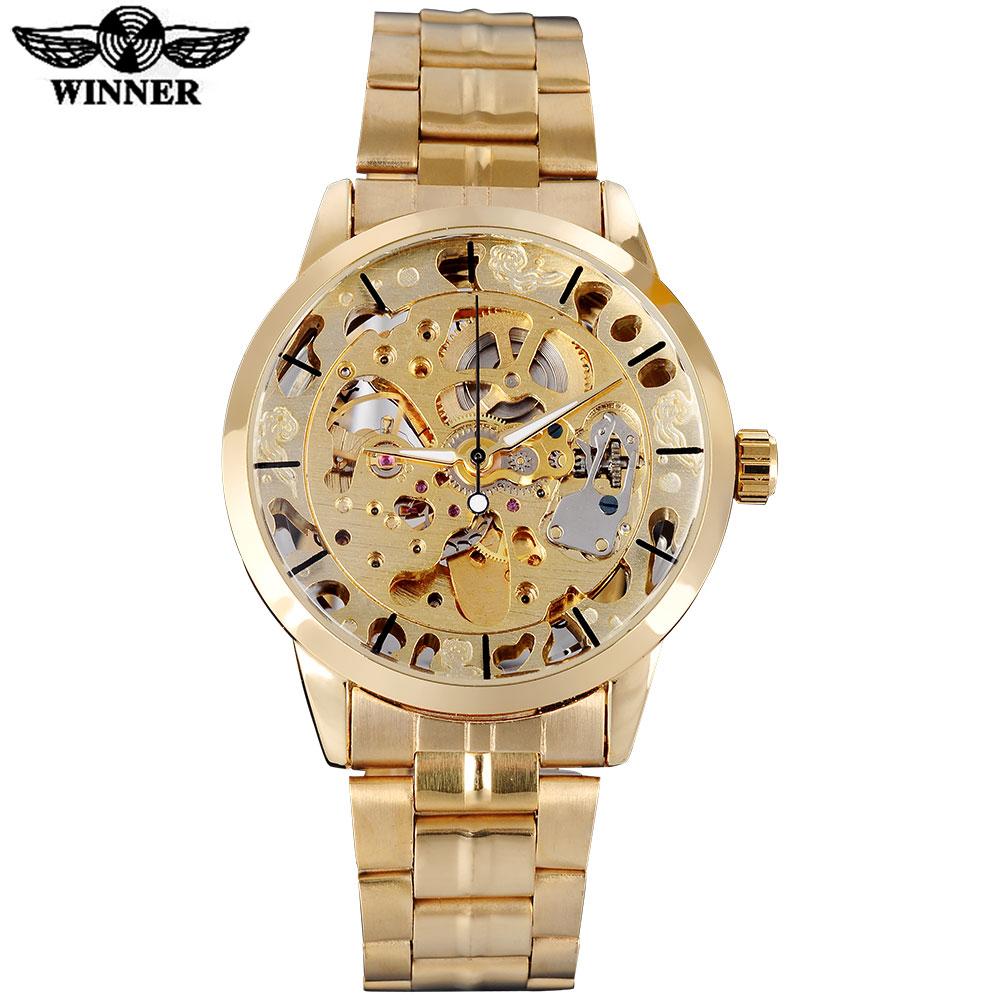 Prix pour GAGNANT célèbre marque hommes montres de luxe mécanique squelette montres squelette en acier inoxydable bande or cadrans relogio masculino