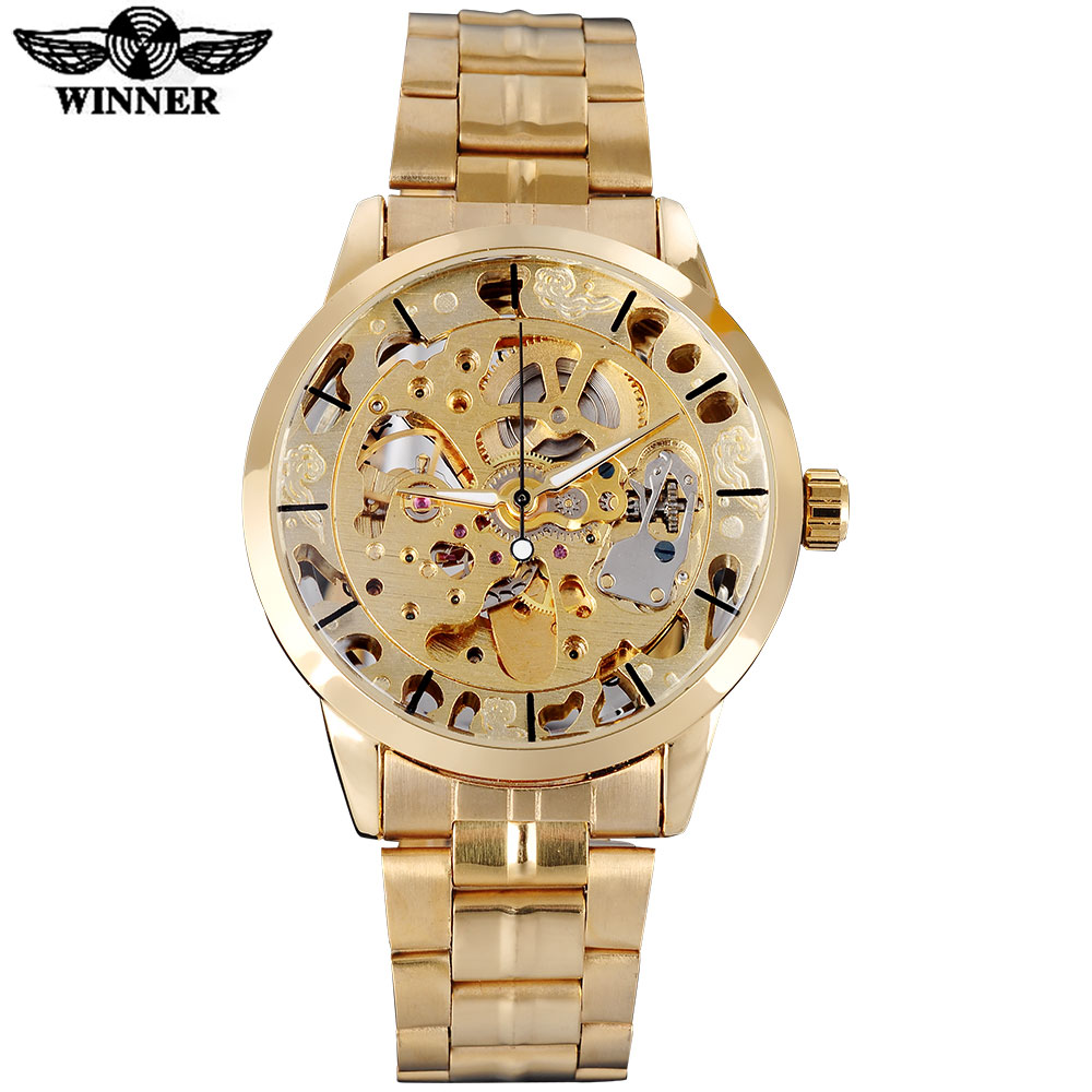 WINNER famous brand men watches luxury mechanical skeleton watches skeleton stainless steel band gold dials relogio masculino комплект адаптеров атлант 8626