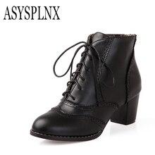 ASYSPLNX черный желтый коричневый с острым носком каблук модные женские ботильоны мантии сапоги Осень-весна 2016 г. галстук обувь