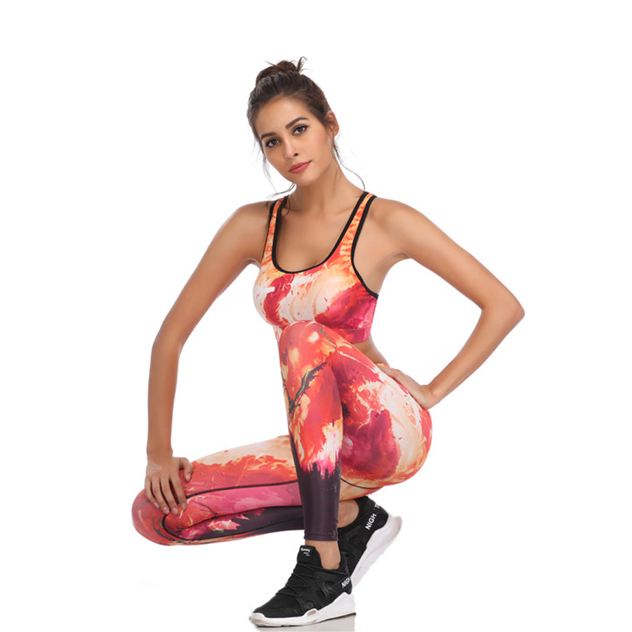 Fitness Yoga Set Women Print Push Up Quick Dry Spotrs Wear Yoga Suits Running Workout Gym Wear Tight Slim Training Suit in Yoga Sets from Sports Entertainment
