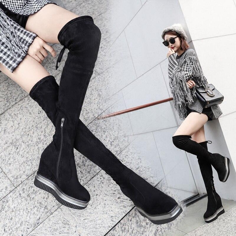 2018 La 34 Square Mujer Ocasionales Toe Invierno Snwoboots Terciopelo Estiramiento Cuña Sobre Rodilla Swyivy Botas Toe pointed Nieve Zapatos Altas Femeninos aqBvvI