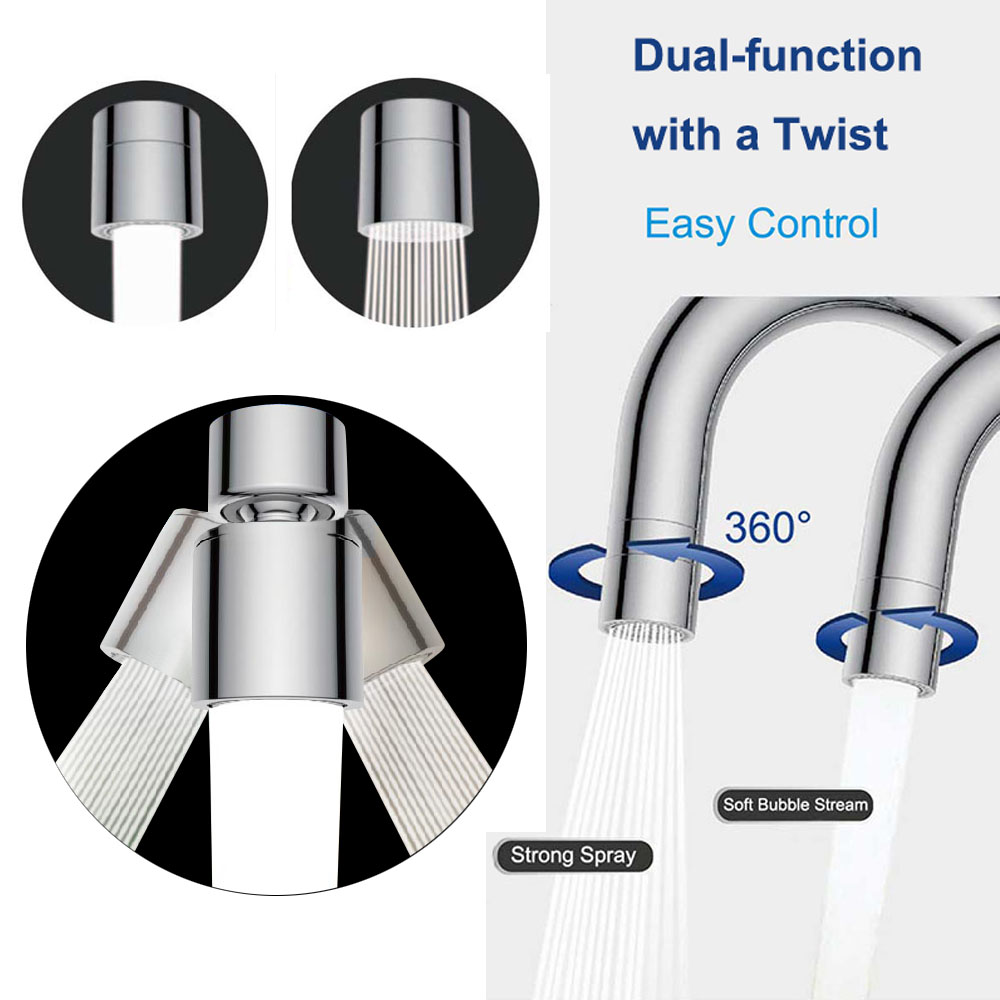 Dual Function 2 Flow Water Saving Faucet Aerator 360 Degree Swivel Aerator Spray Kitchen Sink Aerator Faucet Replacement Part
