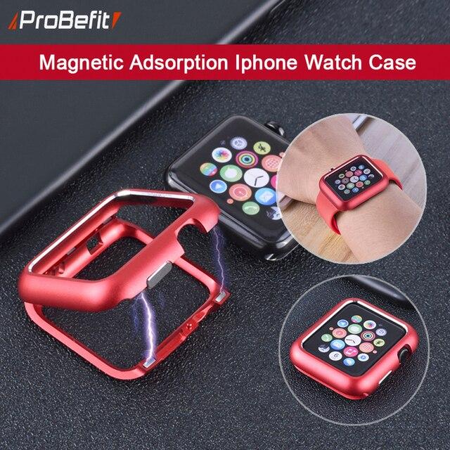 Funda protectora de marco de Metal de adsorción magnética para Apple Watch 38 MM 42 MM Series 1 2 3 para iwatch 440 MM 44 MM cubierta parachoques