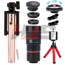 Sale 8X Telephoto Zoom Lenses 235 degrees Fisheye Lentes With Selfie Stick Telescope Wide Angle Macro lens For iPhone 6 7