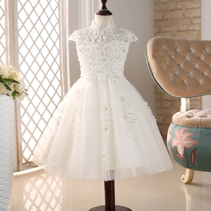 Flower Girls Dresses Pageant Prom Party Ball Gowns Girl Princess Marriage Bead Dress Baby Adult birthday Party Dress