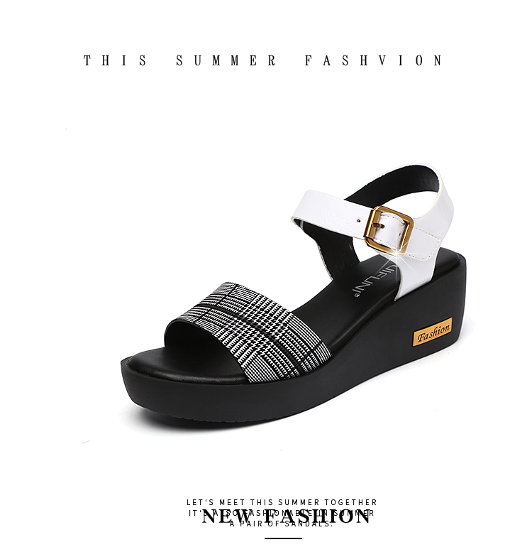 Sandals Female Summer Flat 2019 New Wild With High Heel Wedges Comfortable Non-slip Soft Bottom Pregnant Women Mother Shoes 77