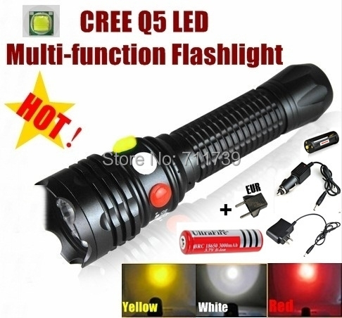 AloneFire CREE Q5 LED Signal light Yellow White Red Flashlight LED Torch Bright light signal lamp + 1 x 18650 Battery / Charger sport car style 2 led white light flashlight keychain w sound effect red 4 x lr41