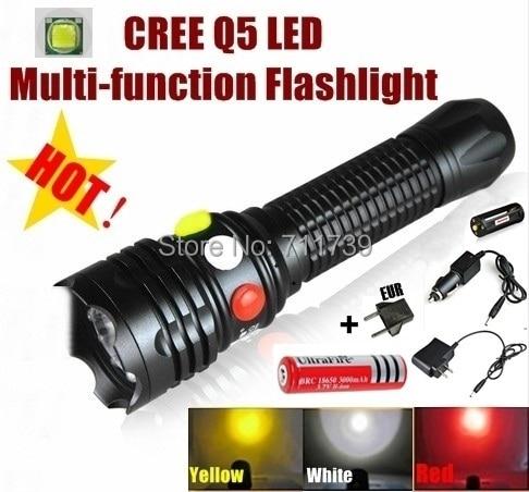AloneFire CREE Q5 LED Signal light Yellow White Red Flashlight LED Torch Bright light signal lamp + 1 x 18650 Battery / Charger hasky k1sr b 250lm led white light bike light black red 4 x 18650