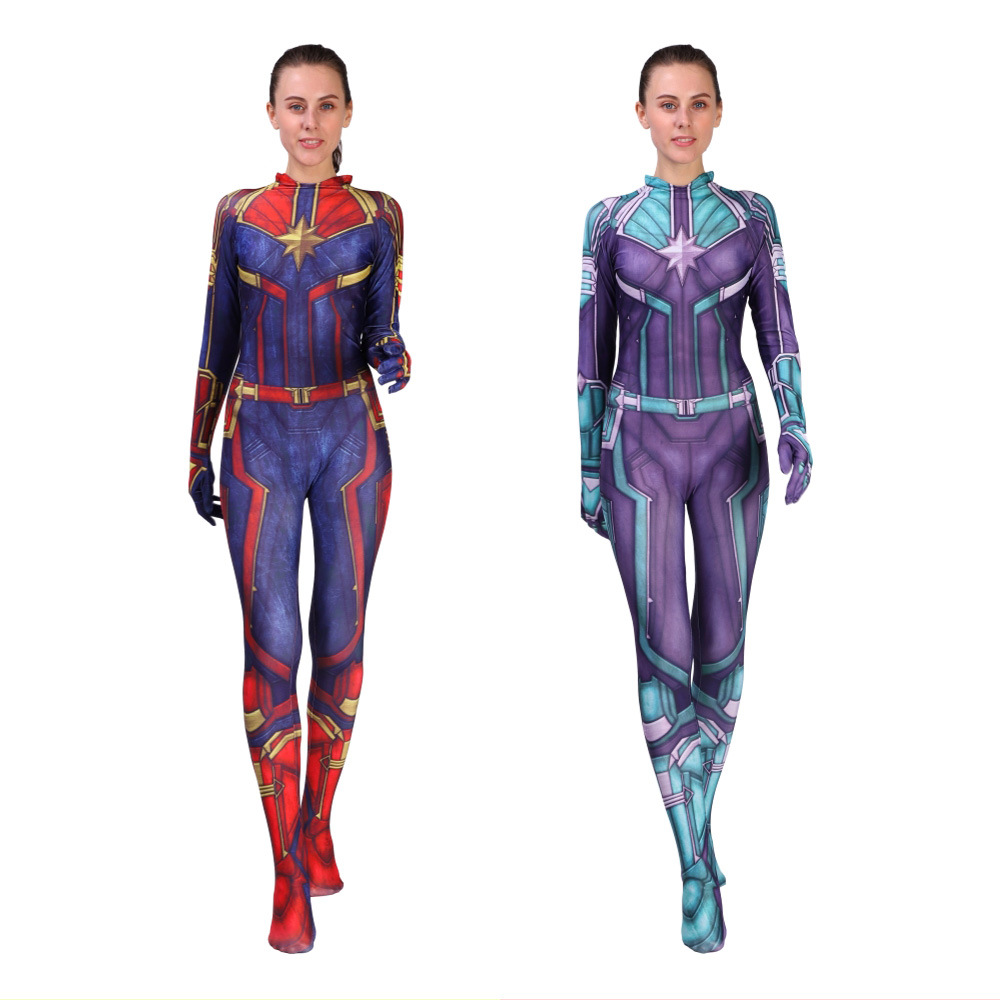 2019 New Women Girls Movie Captain Marvel Carol Danvers Cosplay Ms Marvel Costume Zentai Superhero Bodysuit Suit Jumpsuits