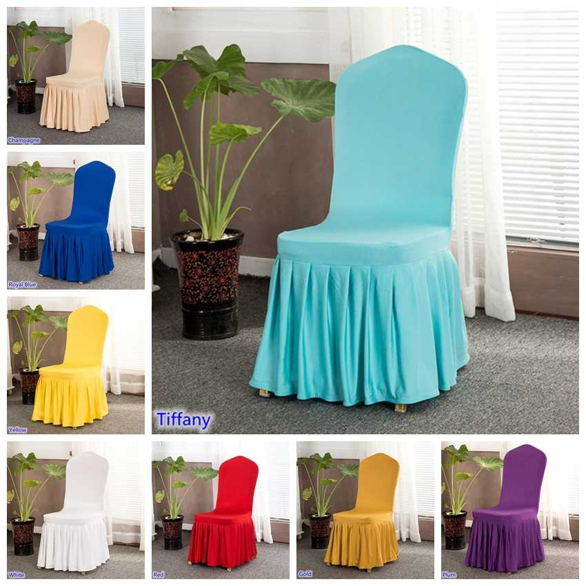 Lycra chair cover with skirt all around the chair bottom spandex pleated ruffled skirt chair cover for wedding party decoration