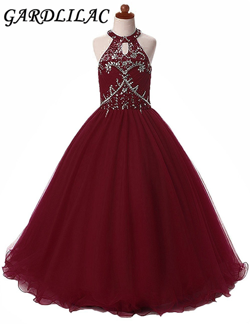 tulle beading halter ankle-length ball gown   flower     girl     dress   sequined Formal Party   Dress   Halloween   Girl     Dress