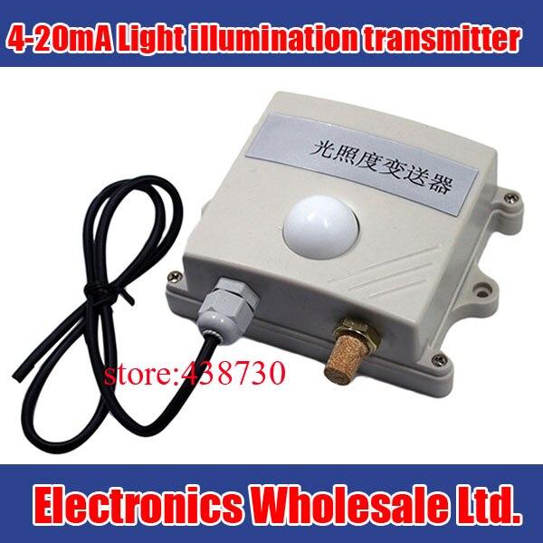 4 20mA Light illumination transmitter 0 10V light sensor for greenhouse agriculture 0 65535 lux Photometer