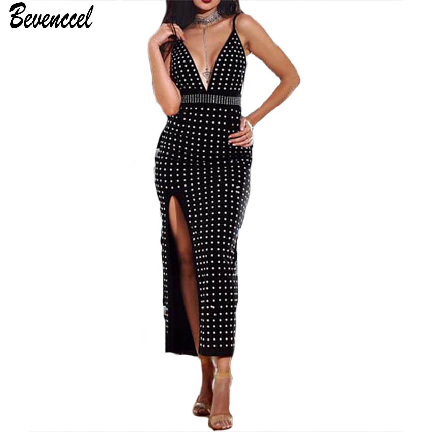 2019 femmes nouveauté Sexy moulante célébrité Cocktail robes de soirée sans manches col en V d'été perles Vestidos femmes Bandage robe