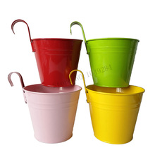 Free Shipping 8Pcs/Lot Hanging Garden Bucket Tin Box Iron Pots Flower Metal  Planter Mixed Color