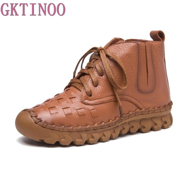 GKTINOO 2019 Women Fashion Vintage Genuine Leather Shoes Female Autumn Winter Platform Ankle Boots Woman Lace