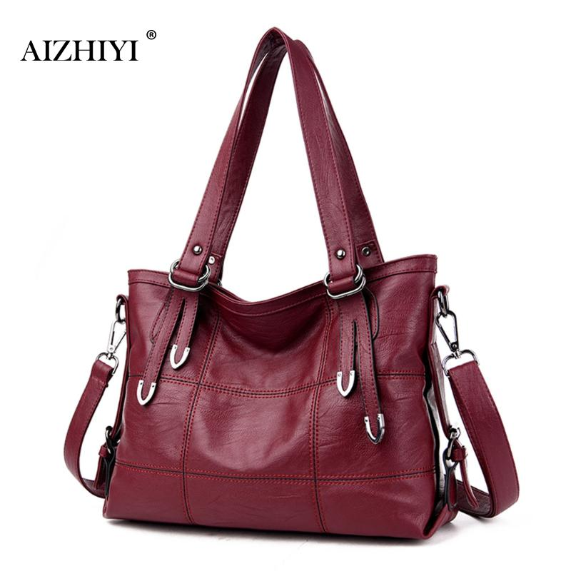 Retro Style Large Leather Bag Women Handbags Ladies Crossbody Bag For Women Shoulder Bag Female Big Tote Sac A Main Famous Brand enmayer high heels charms shoes woman classic black shoes round toe platform zippers knee high boots for women motorcycle boots