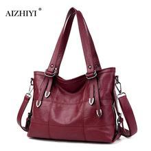 Ретро Стиль большой кожаный Для женщин сумка Crossbody сумка для Для женщин Дамская мода сумка женская большая сумка Sac основной