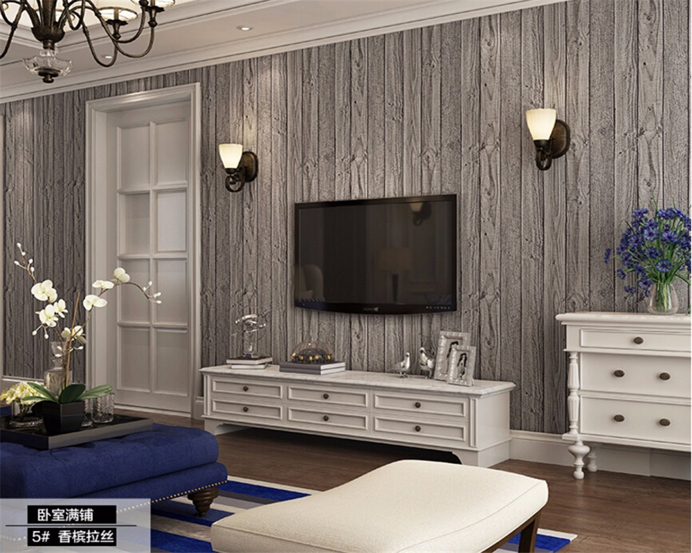 Beibehang 3D Stereo Wallpaper Imitation Wood Retro Wallpaper Modern Family Bedroom 3d Wallpaper Striped wallpaper for walls 3 d
