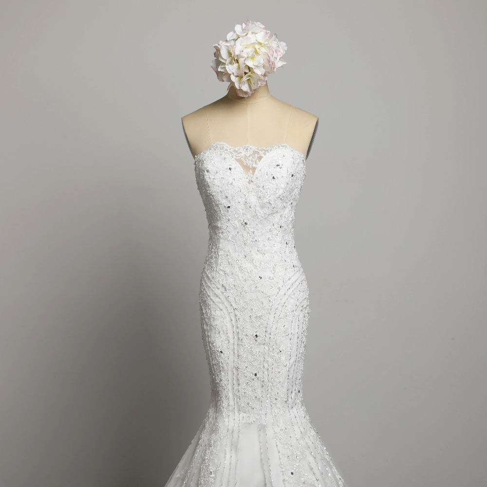 Sexig Stroplös Beading Snörning Vestidos De Novia Off Shoulder - Bröllopsklänningar - Foto 4