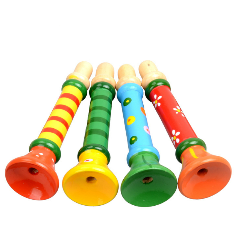 Small Speakers Colorful Wooden Trumpet Buglet Hooter Bugle Horn Educational Musical Instrument Toy For Kids Baby Random Send