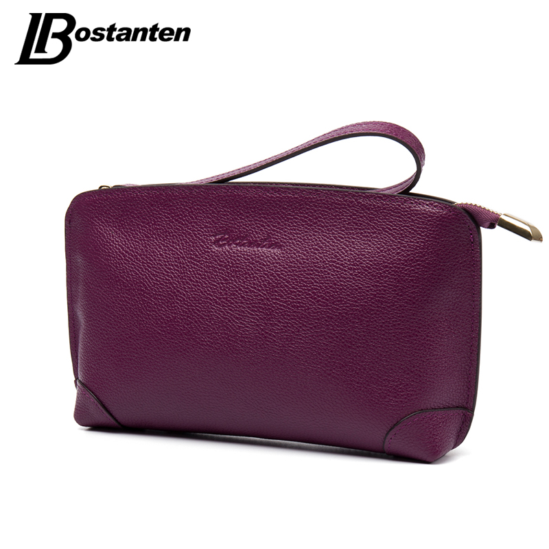 BOSTANTEN High Capacity Fashion Women Wallets Long Genuine Leather Wallet Female Zipper Clutch Coin Purse Cell Phone Wristlet top brand genuine leather wallets for men women large capacity zipper clutch purses cell phone passport card holders notecase