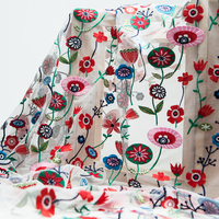 Couture fashion embroidery red, green and blue flowers sheer mesh fabric, sewing for dress, skirt, wedding, craft by the yard