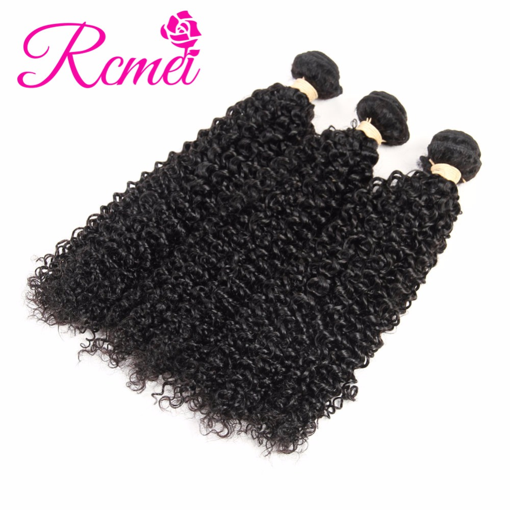 Rcmei Hair Peruvian Kinky Curly Human Hair 3 Weave Bundles 100% Remy Hair Natural Color Human for women Extension 8-24 inch Free