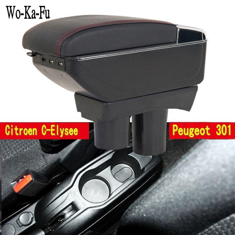 For Citroen C-Elysee Elysee Peugeot 301 armrest box central Store content Storage box with cup holder ashtray USB interface стоимость