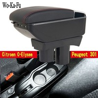 For C Elysee Elysee 301 armrest box central Store content Storage box with cup holder ashtray USB interface