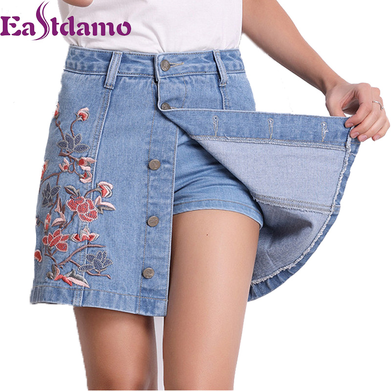 Eastdamo 2017 Summer Embroidery Denim Skirt Shorts Women ...