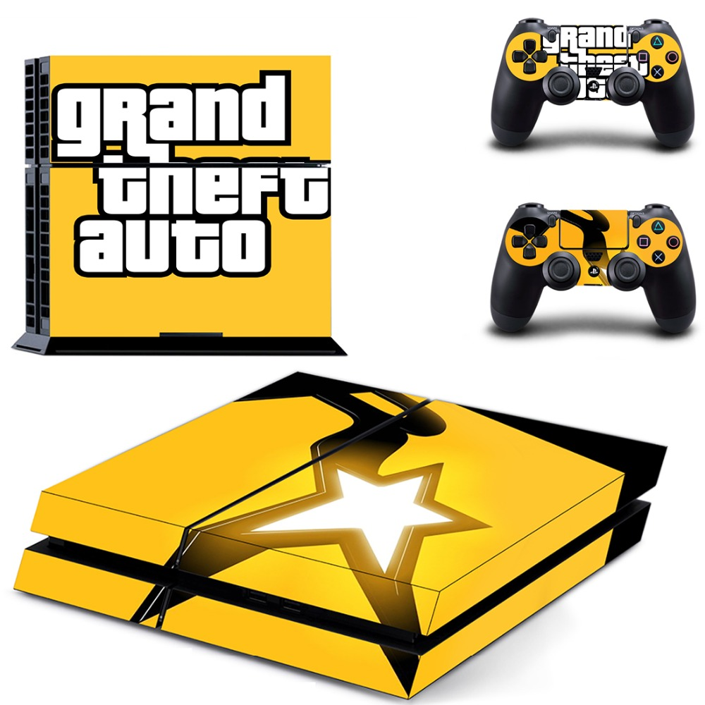 Game Grand Theft Auto V PS 4 Sticker PS4 Skin for Sony PS4 PlayStation 4 and 2 controller skins