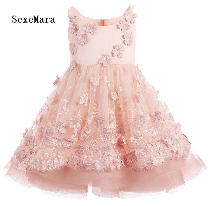Scoop Neck Pink Girls Dresses Lace Applique Flower Girl Dresses 2018 Lovely Girls Birthday Gown