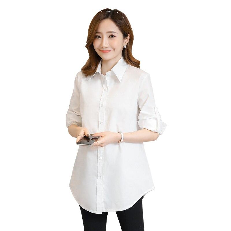 OL рубашки хлопковые блузки для беременных женщин модная весенняя Длинная блузка Повседневная Беременность летняя мама Деловая одежда C743