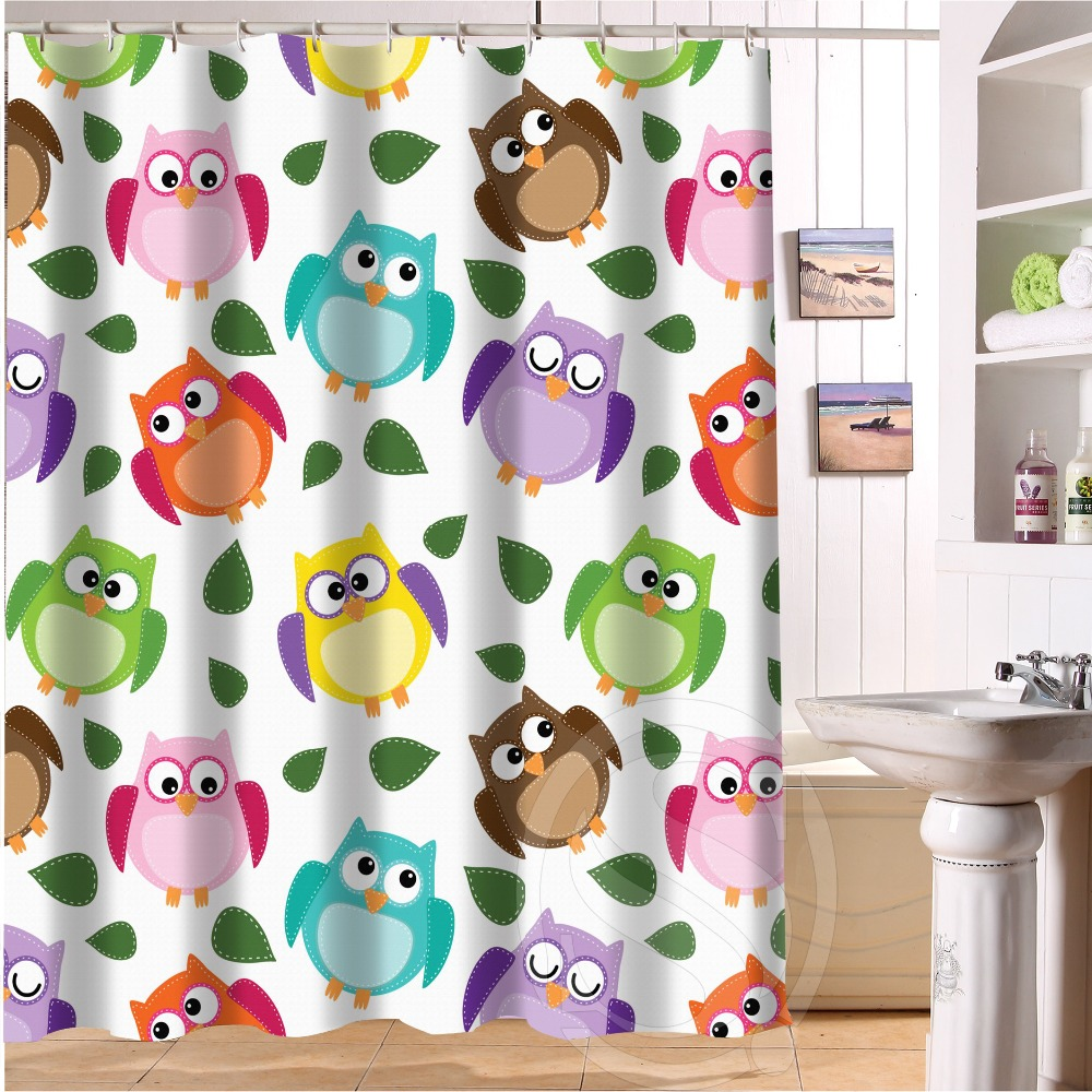 2014 New Arrival Decorative Charming Customized 66 X 72 Inches Waterproof Bathroom Owl Shower Curtain With