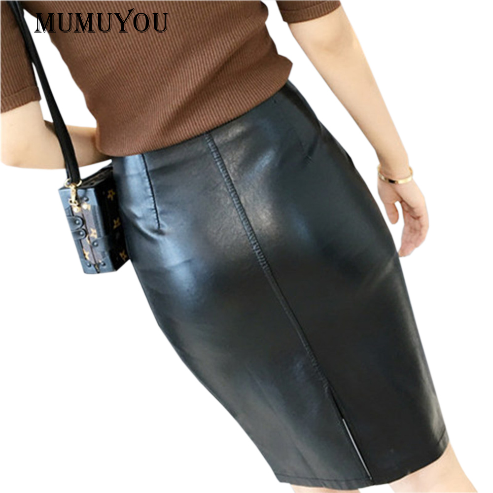Ladies Sexy Slit Leather Skirt High Waist Slim Bodycon Knee-Length Pencil PU Skirts Black Color S-XL Size Solid Fashion SMT-A020