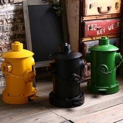 Europe Retro Home Decor Wastebasket Dustbin Garbage Bin Creative Tin Fire Hydrant Pedal Trash Can Bar Cafe Decoration