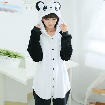 Commercio all'ingrosso Kung Fu Panda Flanella Con Cappuccio Pigiami Costume Cosplay Onesies Animali Sleepwear Per Le Donne Degli Uomini Adulti