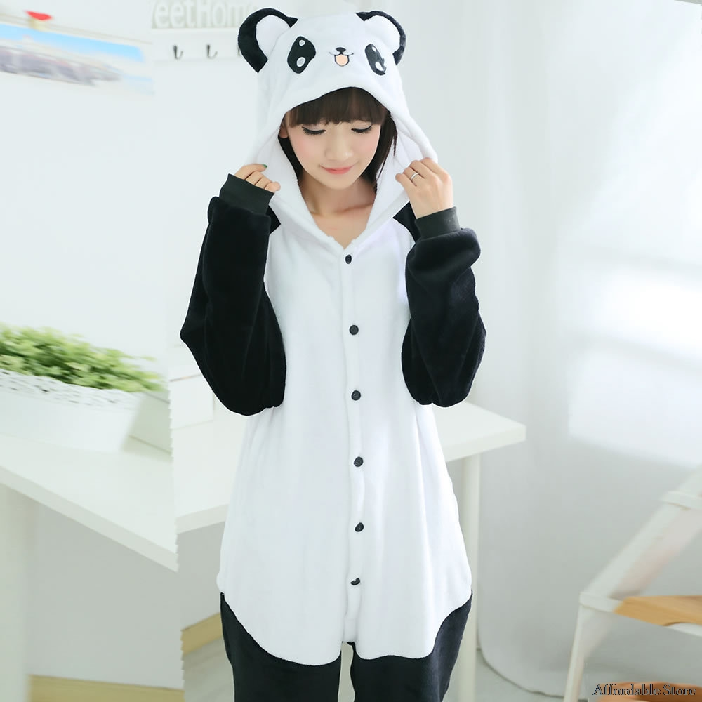 Wholesale Kung Fu Panda Flannel Hoodie Pajamas Costume Cosplay Animal Onesies Sleepwear For Women Men Adults