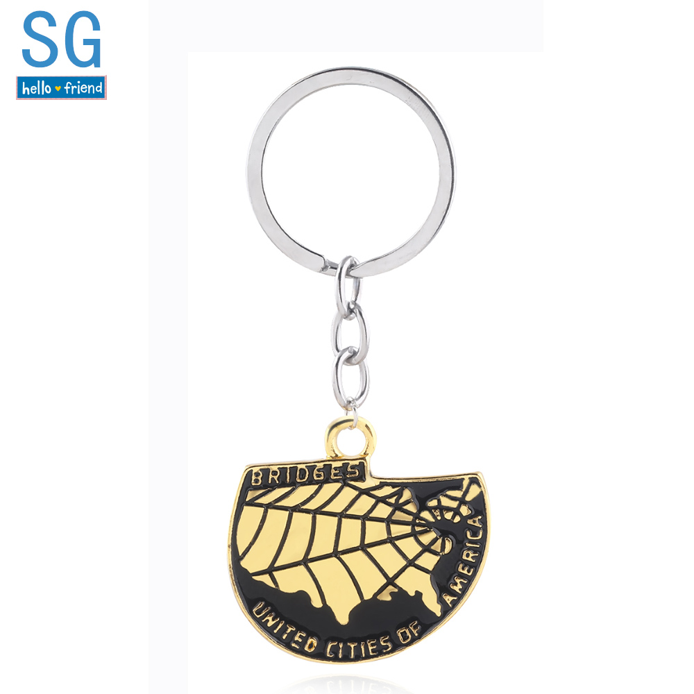 SG 2018 Death Stranding Gold Badge Keychains Bridges United Cities of America United States Map Pendant Men Car Keyring Jewelry image