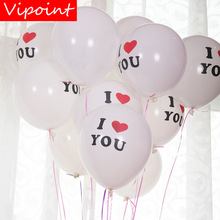 VIPOINT PARTY 100pcs 12inch white pink i love you latex ballon wedding event christmas halloween festival birthday party HY-367