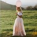 Bebé de Color Rosa Maxi Faldas de Las Mujeres Para Las Damas de Honor 2017 Por Encargo una Línea de Longitud del Piso de Tulle Wedding Party Largo Más El Tamaño faldas