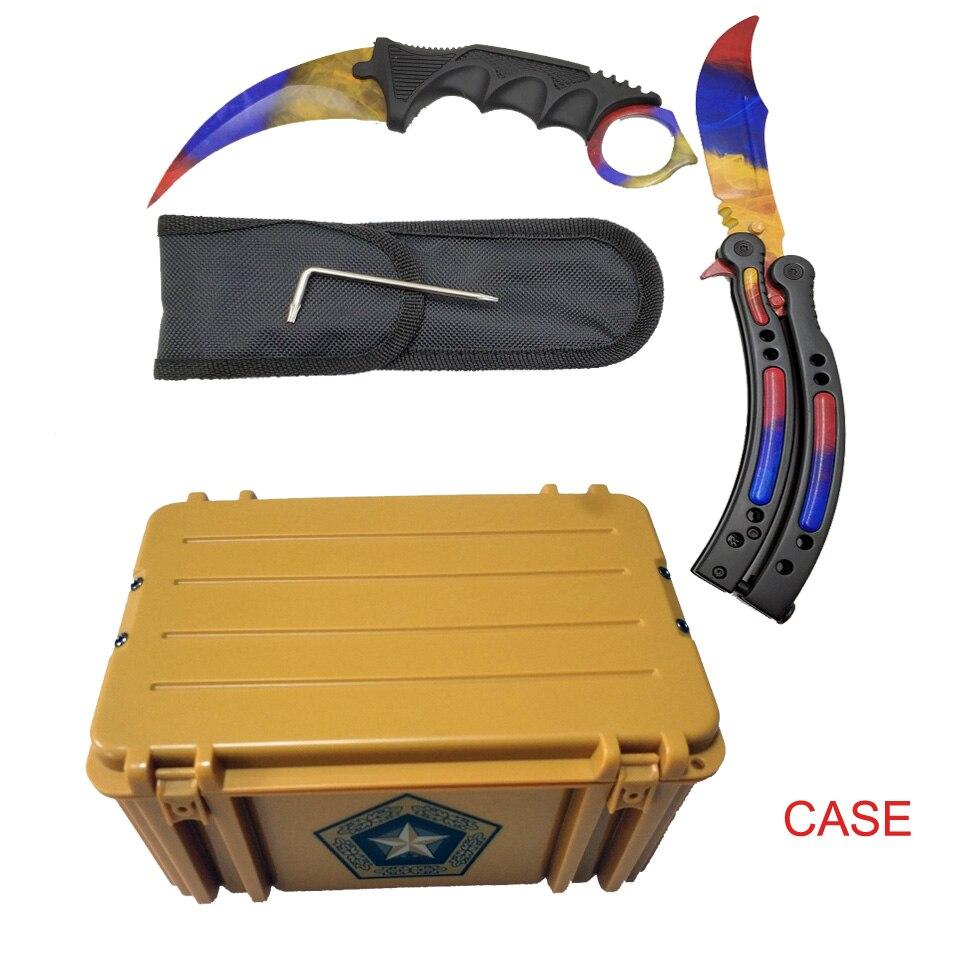 Dropship Karambit+Trainer Knife+Nylon Bag + Screwdr+Box CSGO Game Knife Case Butterfly  Combination Knives Set Dull Blade