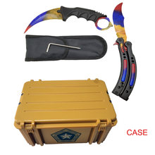 Dropship Karambit+Trainer Knife+Nylon bag + screwdr+Box CSGO Game Knife Case butterfly combination knives set dull blade(China)