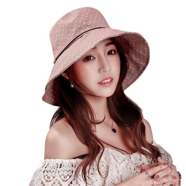 2018 Summer Wide Brim Polk Dot Cotton Hats for Women Fashion Dats Bucket Hat  Visors Lady Brand Casual Beach Sun Hat Boater Cap 831c167847a6