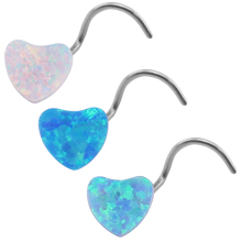 Trendy Opal Heart Nose Rings for Women Stainless Steel Opal Nose Rings & Stud Fashion Nose Piercing Body Jewelry